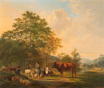 Landschaft mit Schäfer, Bullemann und Rindern, Pieter Gerardus van Os