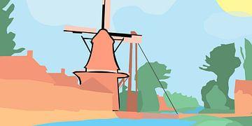 Mühle am Wasser von Robbin Bijl