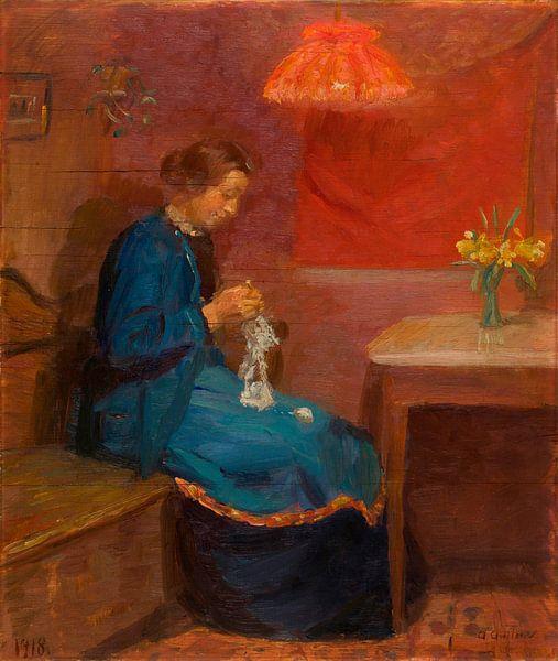 Frau mit ihrer Handarbeit, Anna Ancher von Meesterlijcke Meesters