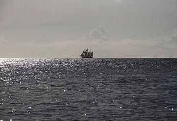 Een driemaster op de Caraïbische Zee van Margot van den Berg