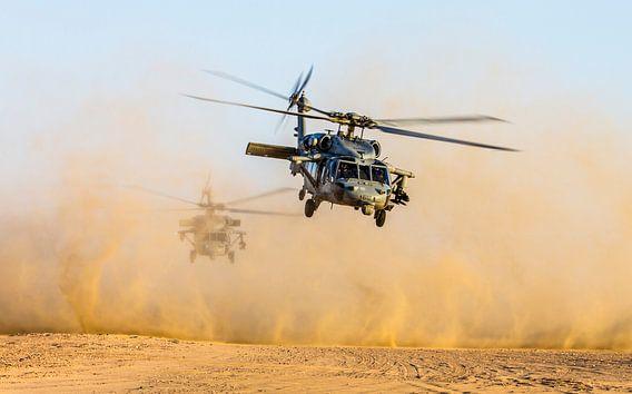 Seahawk-Marinehubschrauber in der Wüste