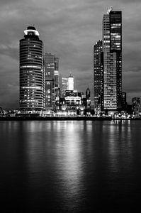 Black and white-night Wilhelminapier Rotterdam