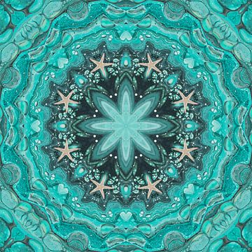 Zee blauw met zeesterren van Carla van Zomeren