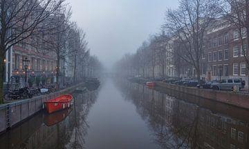 Herengracht Amsterdam mit Nebel. von Maurits van Hout