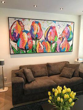 Kundenfoto: Tulpen auf einer Reihe von Vrolijk Schilderij