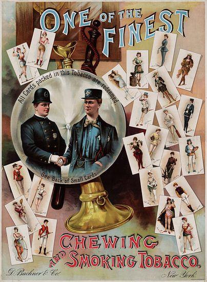 Amerikaanse oude poster over pruimtabak en tabak uit 1890