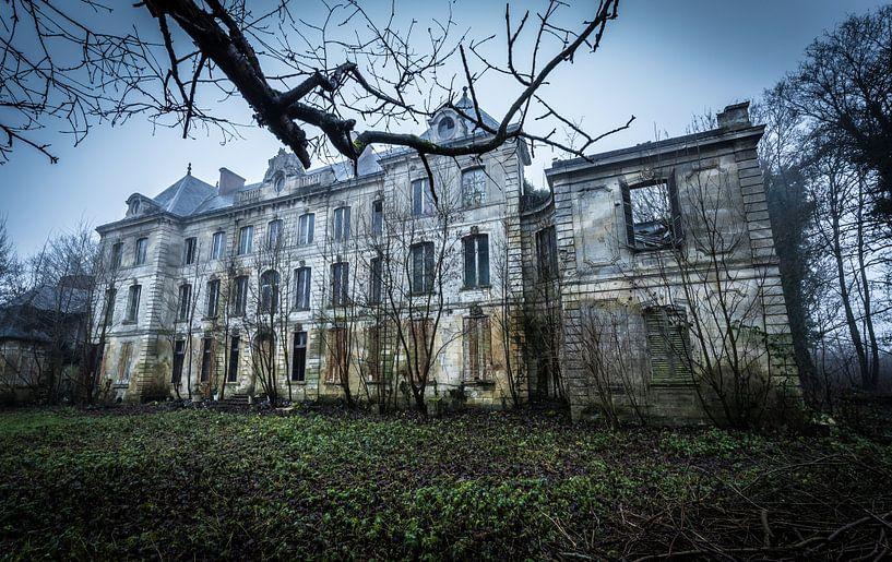 Verlaten villa met bomen van Inge van den Brande