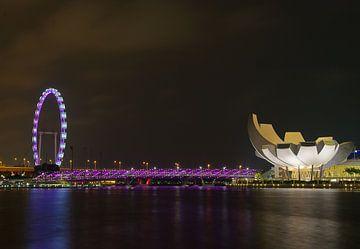 Riesenrad Singapur mit Helix-Brücke 2 von Martin de Hoog