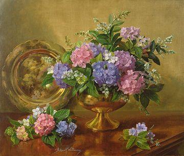 Rozen in een blauw-witte vaas van Albert Williams