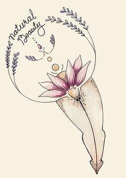 Yoni Blume, natürliche Schönheit von Kirsten Jense Illustraties.