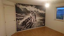 Klantfoto: Jeugdige Motorcrosser op snelheid door de bocht van Karel Pops, als behang
