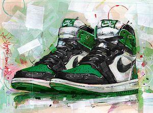 Jordan 1 Retro High Pine Green (GS) schilderij. van Jos Hoppenbrouwers