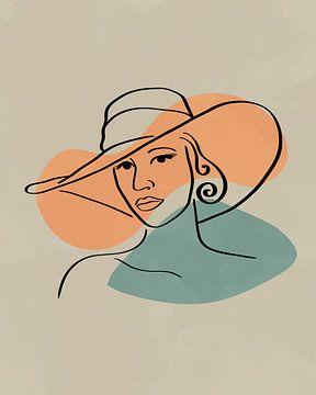 Frau mit Hut, minimalistische Linienzeichnung mit zwei organischen Formen von Tanja Udelhofen
