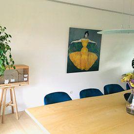 Kundenfoto: Dame im gelben Kleid, Max Kurzweil, auf leinwand