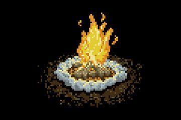 Kampvuur in pixels van Sander Wind