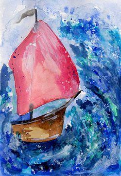 Kleines Boot kämpft gegen den Sturm von ZeichenbloQ