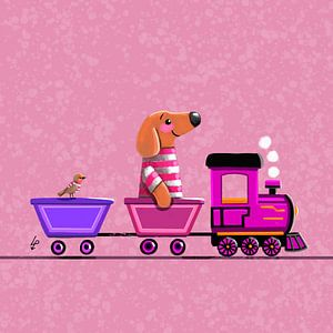 Tiny Teckel Tobie rijdt op een treintje - roze van Linda van Putten