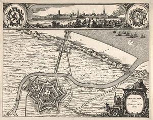Oude kaart van Grevelingen van omstreeks 1730