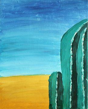 Woestijn met cactus olieverf van Janjaap Van Dijk
