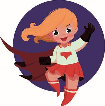 Supermaid als Heldin in Rot und Weiß von Atelier Liesjes