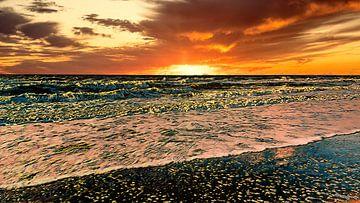 Untergehende Sonne Nordsee von Digital Art Nederland
