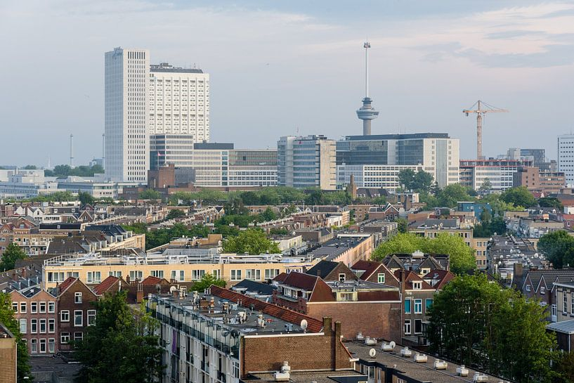 Stadsgezicht Rotterdam met Erasmus Ziekenhuis Netherlands van Martin Stevens