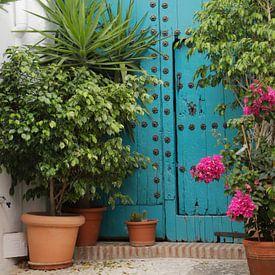 Blauwe antieke Moorse deur van Cora Unk