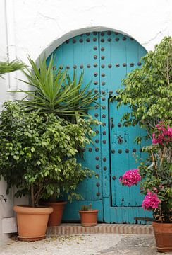 Blauwe antieke Moorse deur van