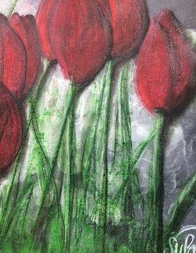 """""""Rote Tulpen"""" Ausschnitt 1 van Susanne A. Pasquay"""