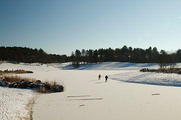 Schlittschuhlaufen auf dem Wasser der Bergse Heide von Sabina Meerman