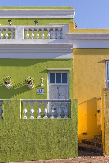Kleurrijke huizen in de wijk Bo-Kaap, Kaapstad, Zuid-Afrika
