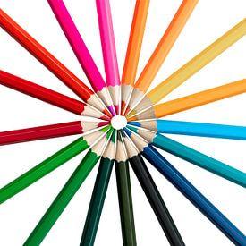Kleurpotloden in een ronde op een witte achtergrond van Elly Damen