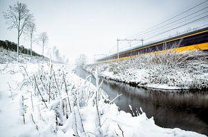 Trein in winters landschap van Kevin IJpelaar