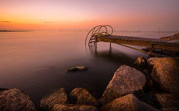 Zonsondergang, IJsselmeer, Noord-Holland van Karel Ton