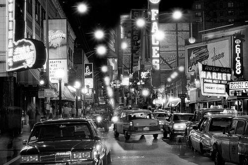 Rush-Straße in der Nacht Chicago 1983 von