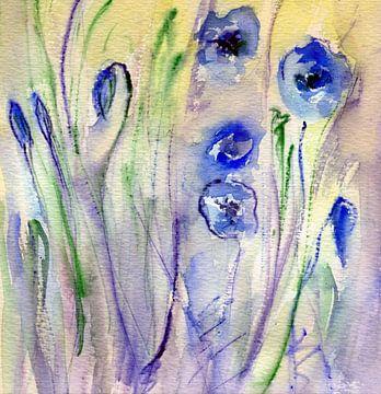 Papaver in het blauw van Claudia Gründler