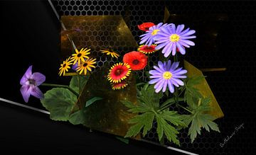 3d-Illustration, Sillleben Blumenarrangement in Gold. von Norbert Barthelmess