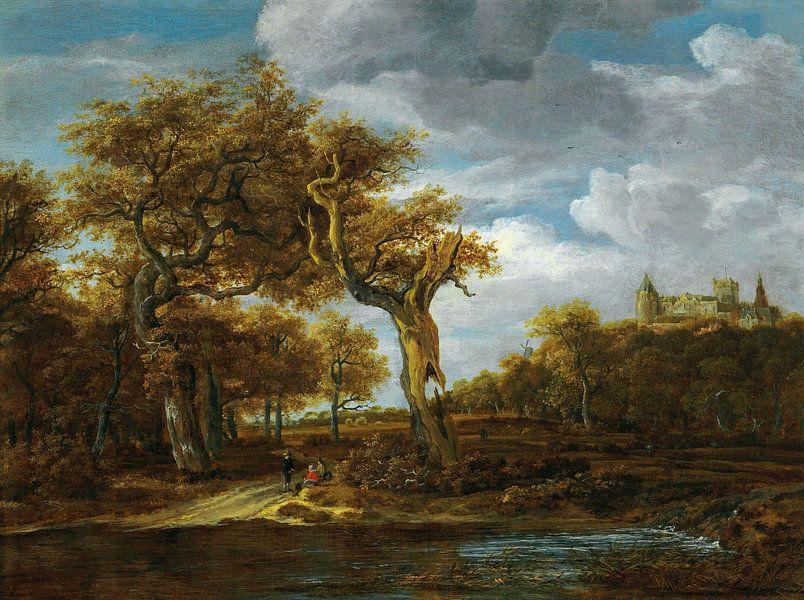 Waldlandschaft mit Schloss Bentheim, Meindert Hobbema von Meesterlijcke Meesters
