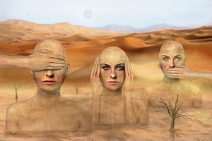 Drei Frauen in der Wüste, nichts sehen, hören, sagen
