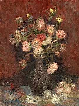 Vaas met Chinese asters en tuingladiolen, Vincent van Gogh van