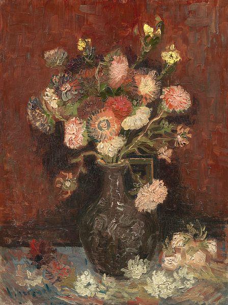 Vase mit chinesischen Astern und Gladiolen, Vincent van Gogh von Meesterlijcke Meesters