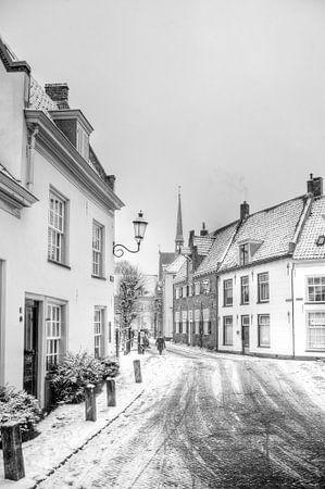 Winter in historisch Amersfoort zwartwit