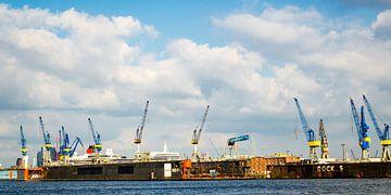 Panorama haven van Hamburg met droogdokken en kranen van Dieter Walther