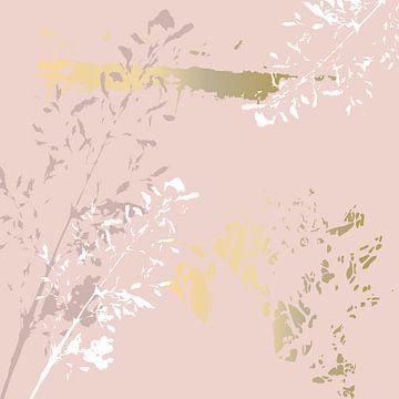 Botanische Pflanzen 3 . Grasbüschel in Pastellfarben mit goldenen abstrakten Pinselstrichen von Dina Dankers