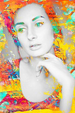 Art photographique numérique - portrait de femme / proche / yeux / lèvres / abstrait / couleur / jau sur Art By Dominic
