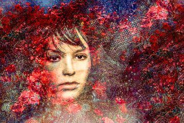 Portret met rode bloemen van Marijke de Leeuw - Gabriëlse