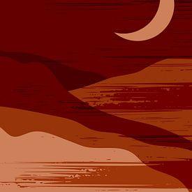 Retro poster in boho stijl. Maan in de bergen .Nr.5 van Dina Dankers