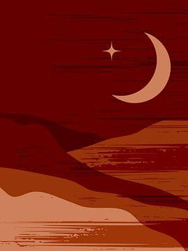 Retro-Poster im Boho-Stil. Mond in den Bergen .Nr.5 von Dina Dankers