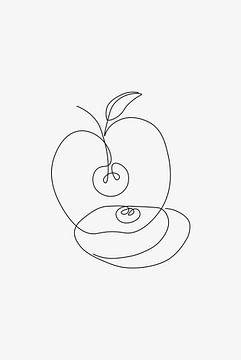 Apple Line Art van Walljar