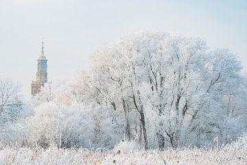 Uitzicht op de nieuwe toren in Kampen in de winter van Sjoerd van der Wal